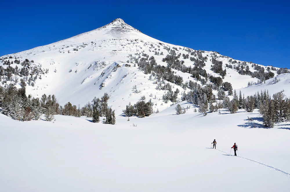 Backcountry skiers in Oregon's Wallowa Mountains.