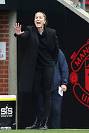 Manchester United Women Manager Casey Stoney gestures during the FA Women's Super League match between Manchester United Women and Manchester City Women at Leigh Sports Village, Leigh, United Kingdom on 14 November 2020.