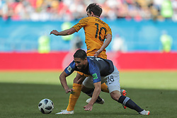June 16, 2018 - Kazan, Kazan, France - forward Robbie Kruse of Australia National team and forward Nabil Fekir of France National team during a  Group C 2018 FIFA World Cup soccer match between France and Australia on June 16, 2018, at the Kazan Arena in Kazan, Russia. (Credit Image: © Anatolij Medved/NurPhoto via ZUMA Press)