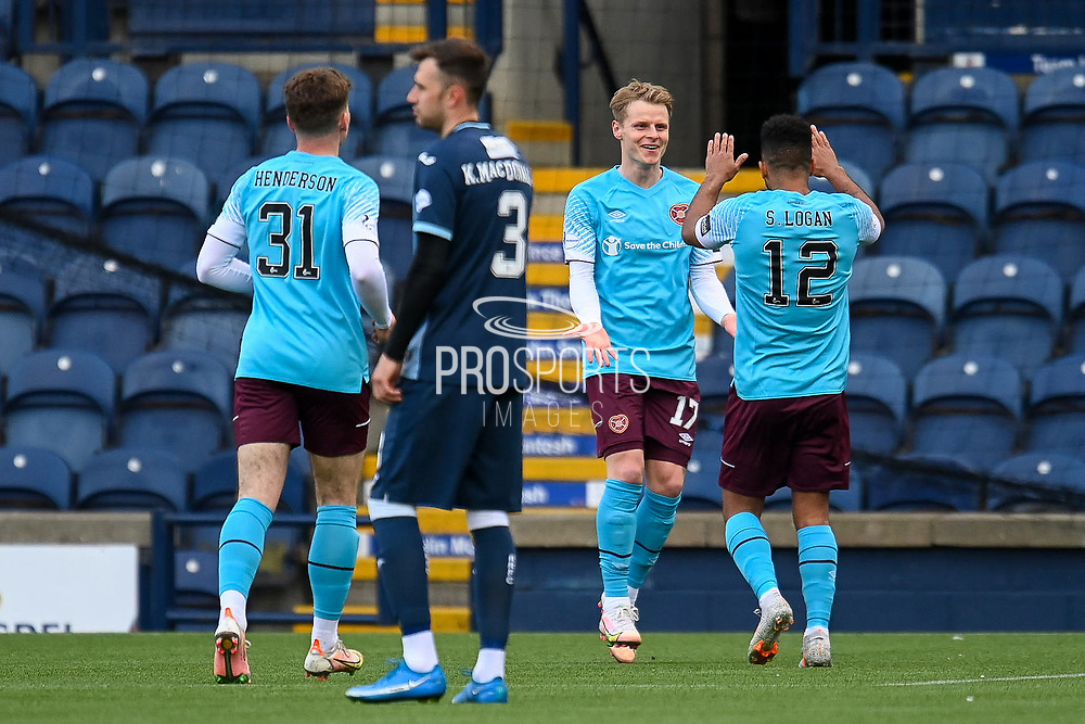 GOAL Gary Mackay-Steven (#17) of Heart of Midlothian FC celebrates after scoring the opening goal during the SPFL Championship match between Raith Rovers and Heart of Midlothian at Stark's Park, Kirkcaldy, Scotland on 30 April 2021.