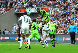 Dale Bennett of Forest Green Rovers wins the highball against Connor Jennings of Tranmere Rovers - Mandatory by-line: Nizaam Jones/JMP - 14/05/2017 - FOOTBALL - Wembley Stadium- London, England - Forest Green Rovers v Tranmere Rovers - Vanarama National League Final