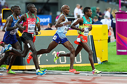 London, August 12 2017 . Mo Farah, Great Britain, Cyrus Rutto, Kenya, and Selemon Barega, Ethiopia, lead the pack in the early stages of the men's 5000m final on day nine of the IAAF London 2017 world Championships at the London Stadium. © Paul Davey.