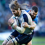 Ben Toolis of Scotland (L) and Jayden Hayward of Italy (R) in action during the Scotland v Italy, Guinness Six Nations match in Edinburgh, Britain, 02 Feb 2019. EPA-EFE/ROBERT PERRY