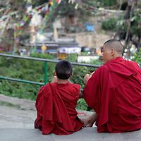 Asia, Nepal, Kathmandu. Monks and a view.