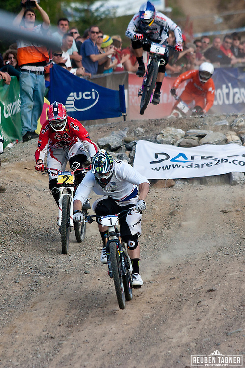The men's Four Cross Final (4X). Jared Graves (1) is followed by Joost Wichman (2), Michal Prokop (5) and Romain Saladini (3), at the UCI Mountain Bike World Cup in Fort William, Scotland.