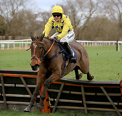 Diger Daudaie ridden by Miss Abbie McCain during the Abacus Decorators Lady Riders' Handicap Hurdle race at Uttoxeter Racecourse.