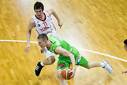 Klemen Prepelic of Slovenia  vs Ahmet Cantitiz of Turkey during basketball match between National teams of Turkey and Slovenia in Qualifying Round of U20 Men European Championship Slovenia 2012, on July 17, 2012 in Domzale, Slovenia. Slovenia defeated Turkey 72-71 in last second of the game. (Photo by Vid Ponikvar / Sportida.com)