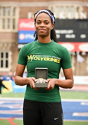 April 27, 2018 - Philadelphia, Pennsylvania, U.S - NATRICIA HOOPER, of Essex CC,  winner of the CW of the triple jump championship  at the 124th running of the Penn Relays at Franklin Field in Philadelphia PA (Credit Image: © Ricky Fitchett via ZUMA Wire)