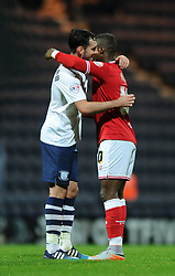 Kieran Agard of Bristol City speaks with Greg Cunningham of Preston North End after the game - Mandatory byline: Dougie Allward/JMP - 07966386802 - 15/09/2015 - FOOTBALL - Deepdale Stadium -Preston,England - Bristol City v Preston North End - Sky Bet Championship