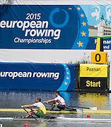Poznan. Poland. GBR M1X, Angus GROOM at the start of his heat at the FISA 2015 European Rowing Championships. Venue Lake Malta. 29.05.2015. [Mandatory Credit: Peter Spurrier/Intersport-images.com] .   Empacher.