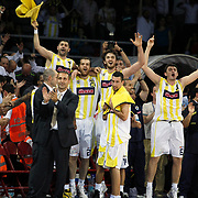 Fenerbahce Ulker's players (Left to Right) Omer ONAN, Oguz SAVAS, Semih ERDEN, Mirsad TURKCAN, Roko Leni UKIC (F) celebrate victory during their Turkish Basketball league Play Off Final Sixth Leg match Fenerbahce Ulker between Efes Pilsen at the Abdi Ipekci Arena in Istanbul Turkey on Wednesday 02 June 2010. Photo by Aykut AKICI/TURKPIX