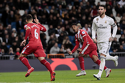 January 24, 2019 - Madrid, Spain - Girona FC's Alex Granell (L) and Antony Lozano (R) celebrate goal during Copa del Rey match between Real Madrid and Girona FC at Santiago Bernabeu Stadium. (Credit Image: © Legan P. Mace/SOPA Images via ZUMA Wire)