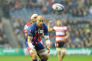 Sergio Parisse on the ball during the European Rugby Challenge Cup match between Gloucester Rugby and Stade Francais at BT Murrayfield, Edinburgh, Scotland on 12 May 2017. Photo by Kevin Murray.