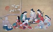 A Musical Party'. Ink and gofun on silk.  Hishikawa Moronobu (1618-1694) Japanese painter and printmaker.