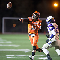 Gallup Bengals quarterback Jacob Ramirez throws a pass in the first quarter against Kirtland Central Broncos, Friday Nov. 2, at Angelo DiPaolo Stadium in Gallup.