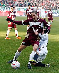 05.0305.03.2011, AWD Arena, Hannover, GER, 1.FBL, Hannover 96 vs FC Bayern Muenchen, im Bild Jan Schlaudraff (Hannover #13) wird von  Daniel Pranjic (Muenchen #23) gefoult.EXPA Pictures © 2011, PhotoCredit: EXPA/ nph/  Schrader       ****** out of GER / SWE / CRO  / BEL ******