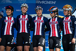 May 18, 2018 - South Lake Tahoe, California, U.S - Friday, May 18, 2018.USA Cycling Team (USA) team is introduced prior to Stage 2 of the Amgen Tour of California Women's Race empowered with SRAM, which starts and finishes near Heavenly Ski Resort in South Lake Tahoe, California...BIB, NAME, NAT.21, GUARNIER, USA.22, BIRCH, USA.23, COMPTON, USA.24, SCHNEIDER, USA.25, SCHNEIDER, USA.26, WHEELER, USA (Credit Image: © Tracy Barbutes via ZUMA Wire)