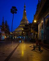 YANGON, MYANMAR - CIRCA DECEMBER 2017: Shwedagon Pagoda in Yangon at night
