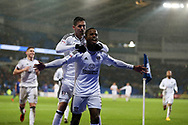 Ryan Sessegnon of Fulham (3) celebrates with teammates after scoring his teams 3rd goal. EFL Skybet championship match, Cardiff city v Fulham at the Cardiff city stadium in Cardiff, South Wales on Boxing Day, Tuesday 26th December 2017.<br /> pic by Andrew Orchard, Andrew Orchard sports photography.