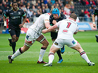 Rugby Union - 2016 / 2017 Guinness Pro12 - Ospreys vs. Ulster<br /> <br /> Justin Tipuric of Ospreys collides with Andy Warwick & Wiehahn Herbst of Ulster, at Liberty Stadium.<br /> <br /> COLORSPORT/WINSTON BYNORTH