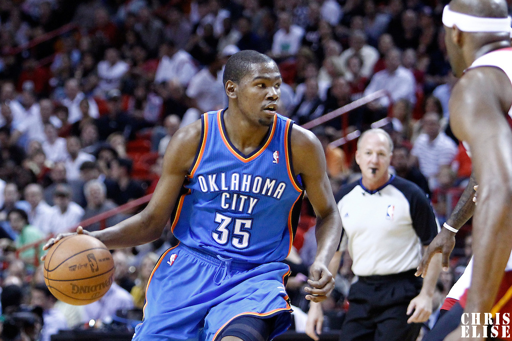 16 March 2011: Oklahoma City Thunder small forward Kevin Durant (35) dribbles during the Oklahoma City Thunder 96-85 victory over the Miami Heat at the AmericanAirlines Arena, Miami, Florida, USA.