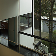 Paris, France, 2004: View from interior house to garden, Maison La Roche Jeanneret (1923) at 8-10 square Doctor Blanche - Le Corbusier arch -  Photographs by Alejandro Sala, (Historical archive AS)