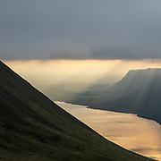 Last light, Buckbarrow & Wast Water from Scafell Pike, Cumbria.