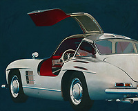 Mercedes 300SL Gullwings<br /> The Mercedes 300 SL is the most iconic Mercedes of all the models Mercedes has ever launched on the market.<br /> In this painting you see the Mercedes Gullwings from the side with 1 door open so you can see the interior. -<br /> <br /> BUY THIS PRINT AT<br /> <br /> FINE ART AMERICA<br /> ENGLISH<br /> https://janke.pixels.com/featured/mercedes-300sl-gullwings-with-door-open-jan-keteleer.html<br /> <br /> WADM / OH MY PRINTS<br /> DUTCH / FRENCH / GERMAN<br /> https://www.werkaandemuur.nl/nl/shopwerk/Mercedes-300SL-Goellwings-achteraan/571990/132