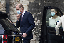 © Licensed to London News Pictures. 23/03/2021. Windsor, UK. Prince William and Catherine, Duchess of Cambridge leave Westminster Abbey after visiting the vaccine centre .. Photo credit: Peter Macdiarmid/LNP