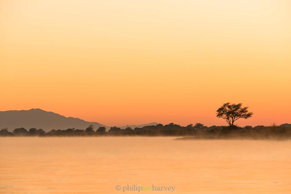 Lower Zambezi River at sunrise in Zambia