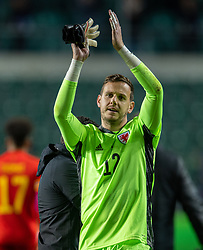 TALLINN, ESTONIA - Monday, October 11, 2021: Wales' goalkeeper Daniel Ward applauds the supporters after the FIFA World Cup Qatar 2022 Qualifying Group E match between Estonia and Wales at at the A. Le Coq Arena. Wales won 1-0. (Pic by David Rawcliffe/Propaganda)