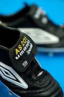 Photo: Jed Wee.<br />Presentation of Umbro boots to Alan Shearer for scoring a record 201 goals for Newcastle. 09/02/2006.<br />Alan Shearer's new Umbro boots.