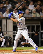 CHICAGO - SEPTEMBER 11:  Cheslor Cuthbert #19 of the Kansas City Royals bats against the Chicago White Sox on September 11, 2019 at Guaranteed Rate Field in Chicago, Illinois.  (Photo by Ron Vesely)  Subject:   Chelsor Cuthbert