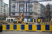Yellow and blue barriers cordon off areas under redevelopment in Brussels, Belgium. The Brussels-Capital Region is a region of Belgium comprising 19 municipalities, including the City of Brussels.