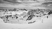 The joy of skiing moguls (on, not with, this time) Looking down the start of the 3500 and Glacier ski runs in Tignes