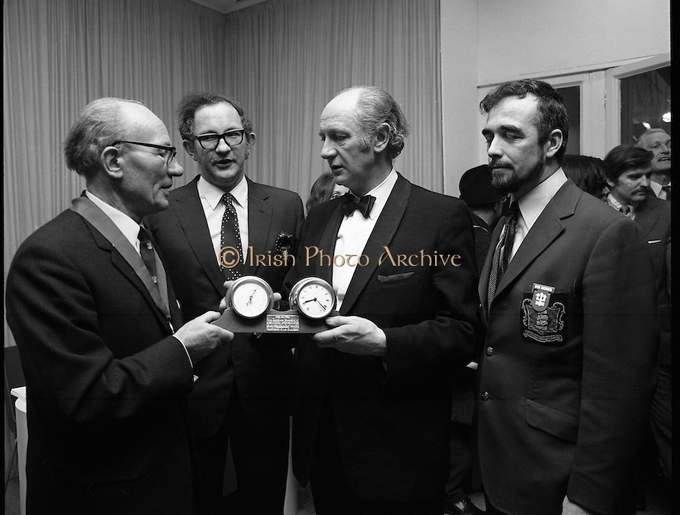 Mr Jack Lynch Opens the Boat show..1973..27.02.1973..02.27.1973..27th February 1973..After a hectic general election campaign,An Taoiseach, Jack Lynch found time before the ballot counts to officially open the Irish Boat Show in the RDS (Royal Dublin Showgrounds)...An Taoiseach,Mr Jack Lynch, is pictured receiving a presentation from,(L-R) Mr Jack Tyrrell,President,Irish Federation of Marine Industries, Mr James O'Connor, Organising Sec.,Irish Federation of Marine Industries and Mr Ted Magee,Chairman,Irish Federation of Marine Industries.