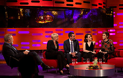 (left to right) Host Graham Norton, Emma Thompson, Adam Sandler, Claire Foy and Cara Delevingne during filming of the Graham Norton Show at the London Studios, to be aired on BBC One on Friday.
