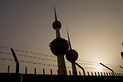 Kuwait Towers, Kuwait City, Kuwait. From the government website: One of Kuwait's most famous landmarks, the Kuwait Towers are situated on Arabian Gulf Street on a promontory to the east of the City centre in Dasman. The uppermost sphere of the largest tower (which is 187 meters high) has a revolving observation area and a restaurant with access by high speed lifts. The entrance fee is 350 fils per person, or free if lunch or dinner has been reserved. Cameras with zoom lens are forbidden. The middle tower contains 1 million gallons of water. (Source information comes from: www.kuwait-info.com). (Supporting image from the project Hungry Planet: What the World Eats.)