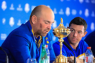 Thomas Bjorn (Team Europe Captain) during media interview after the sunday singles at the Ryder Cup, Le Golf National, Paris, France. 30/09/2018.<br /> Picture Phil Inglis / Golffile.ie<br /> <br /> All photo usage must carry mandatory copyright credit (© Golffile | Phil Inglis)
