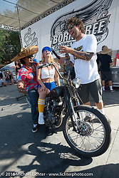 Winners of the Jeff Leighton built Knucklehead chopper give-away bikeBorn Free 8 Motorcycle Show. Silverado, CA, USA. June 26, 2016.  Photography ©2016 Michael Lichter.