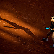 PARIS, FRANCE June 10. Maria Sakkari of Greece in action against Barbora Krejcikova of the Czech Republic as the early evening shadows creep across Court Philippe-Chatrier during the semi finals of the Women's singles competition at the 2021 French Open Tennis Tournament at Roland Garros on June 10th 2021 in Paris, France. (Photo by Tim Clayton/Corbis via Getty Images)