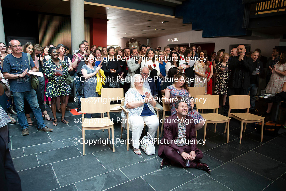 EMBARGOED UNTIL 18.00 (6PM) 10.06.18 <br />Critics' Awards for Theatre in Scotland at Perth Theatre…People watch the awards from the foyer after a power cut at the Theatre.<br />for further info contact Lesley Booth at CATS on 07799 414474<br />Picture by Graeme Hart.<br />Copyright Perthshire Picture Agency<br />Tel: 01738 623350  Mobile: 07990 594431