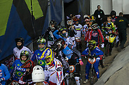 Ladies before the start of their first practice session at the 2014 UCI BMX Supercross World Cup in Manchester.