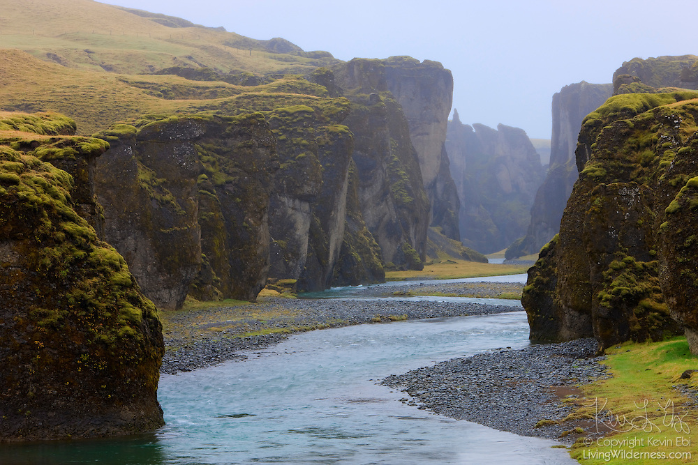 A river winds through the gorge at Fjaðragljúfur, near Laki in southern Iceland.