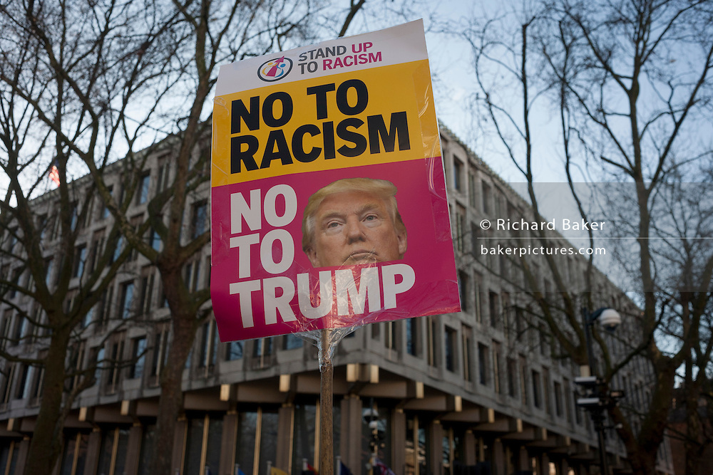 Women protesters march through central London as part of an international campaign on the first full day of Donald Trump's presidency, on 21st January 2017, in London, England. They marched from the US embassy in Mayfair, to Trafalgar Square for a rally, held in solidarity with a march in Washington and other cities around the world. Organisers say it highlighted women's rights, which they perceive to be under threat from the new US administration. London organisers announced on stage that between 80,000 and 100,000 people - which included both men and women - had taken part in the rally. (Photo by Richard Baker / In Pictures via Getty Images)