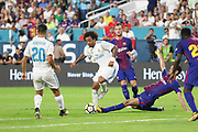 Real Madrid Defender Marcelo during the International Champions Cup match between Real Madrid and FC Barcelona at the Hard Rock Stadium, Miami on 29 July 2017.