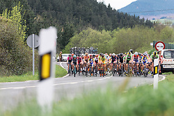 The peloton approach on lap two - Emakumeen Saria - Durango-Durango 2016. A 113km road race starting and finishing in Durango, Spain on 12th April 2016.