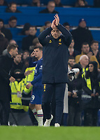 Football - 2019 / 2020 Premier League - Chelsea vs. Aston Villa<br /> <br /> John Terry appluds his former teams fans at the end of the game at Stamford Bridge <br /> <br /> COLORSPORT/DANIEL BEARHAM
