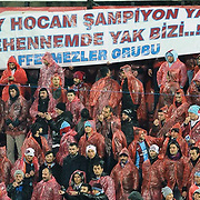 Trabzonspor's Supporters fans during their Turkish SuperLeague Derby match Trabzonspor between Fenerbahce at the Avni Aker Stadium at Trabzon Turkey on Sunday, 17 February 2013. Photo by TURKPIX