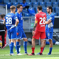 v.l. Stefan Posch (Hoffenheim), Benjamin Huebner (Hoffenheim), Christopher Trimmel (Union Berlin), Florian Grillitsch (Hoffenheim).<br /> <br /> Sport: Fussball: 1. Bundesliga: Saison 19/20: 33. Spieltag: TSG 1899 Hoffenheim - 1. FC Union Berlin, 20.06.2020<br /> <br /> Foto: Markus Gilliar/GES/POOL/PIX-Sportfotos<br /> <br /> Foto © PIX-Sportfotos *** Foto ist honorarpflichtig! *** Auf Anfrage in hoeherer Qualitaet/Aufloesung. Belegexemplar erbeten. Veroeffentlichung ausschliesslich fuer journalistisch-publizistische Zwecke. For editorial use only. DFL regulations prohibit any use of photographs as image sequences and/or quasi-video.